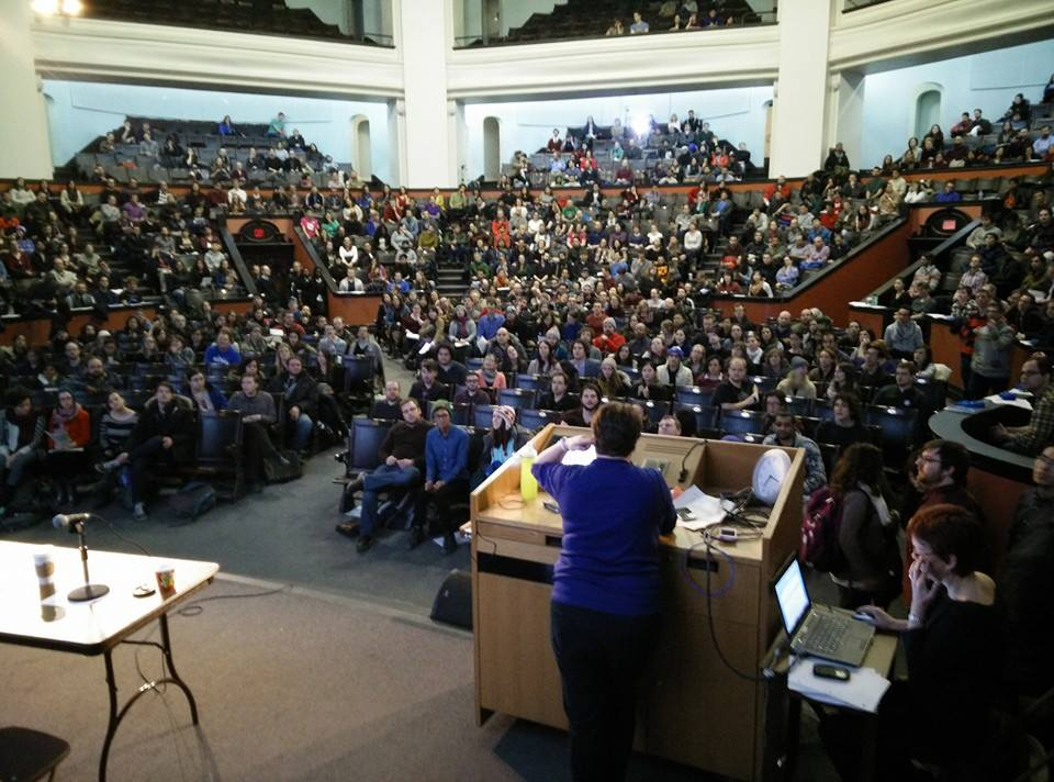 About 1,000 members of CUPE 3902 meeting in Convocation Hall at the University of Toronto, just before voting around 90% to reject their Employer's final offer