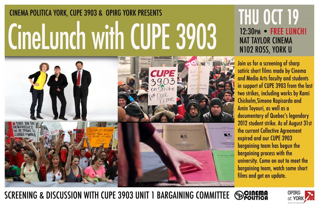 CineLunch with CUPE 3903 @ Nat Taylor Cinema, Ross N102 | Scammon | Kansas | United States